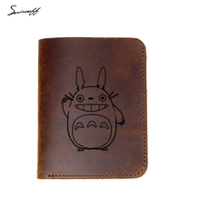 Genuine Leather Wallet Male Custom inscription Gift Purse Laser Engraved Cute Totoro purse for Men Card Holder Male Wallets(China)