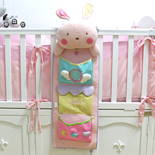 Cute baby bed hanging storage bag nappy bag crib organizer 75*25cm diaper nappy bag toy pocket for baby crib bedding set(China)