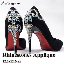 1pcs sewing Applique Rhinestones shoes accessories For Wedding Decoration Dazzling Glass Material Strass CrystalAB Rhinestones(China)