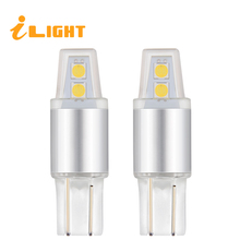 iLight 2x W5W Bulbs T10 LED Light 194 Car Auto LED Lamps 12V 3030 SMD 4 Bulbs 6000K White 3000K Yellow Red License plate light(China)