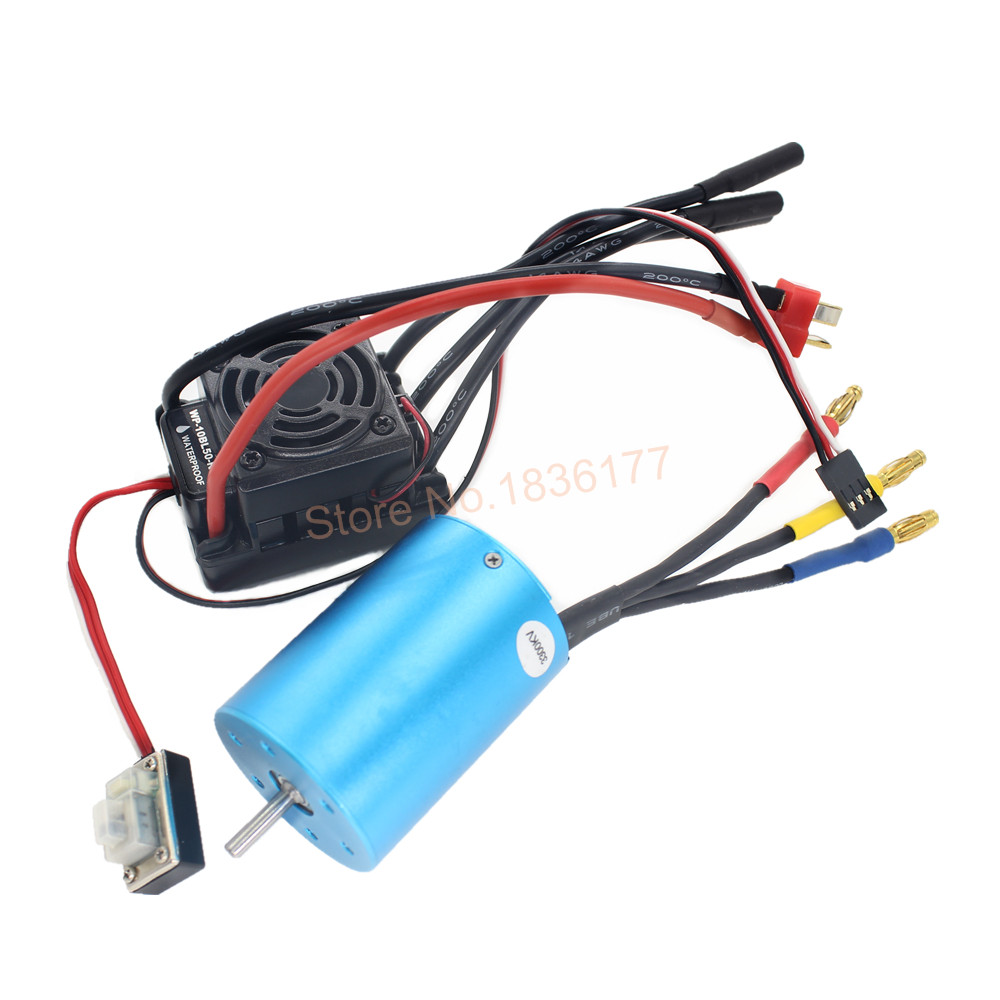 50A Waterproof ESC 37017 (03307) Brushless Motor 3300Kv Combo 107051 (03302) Fit 2-3S Lipo Pack For HPI Redcat HSP 1/10 RC Car<br>