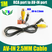 AVIN cable for car camera video adapt wire for PND (RCA connnector to 2.5mm earphone jack connector for camera video input )(China)