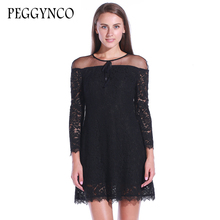 PEGGYNCO black lace dress summer 2017 causal hollow out vintage girls mini lace dresses women clothing girl lace dress causal