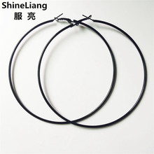 2017 Hot Fashion big circle hoop earrings for women tide nightclub DJ black female gril Exaggerated punk 30-100MM Popular simple(China)