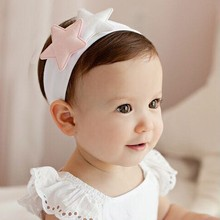 Soft cotton Double Star hair band Children hair accessories Baby girls headdress infant elastic Turban headband 20PCS/LOT(China)