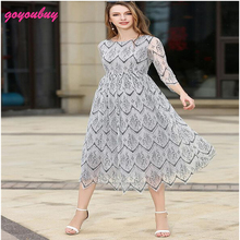 go you buy  European 2017 new In the summer the new 7 minutes of sleeve long lace dress 9356