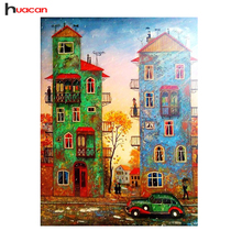 HUACAN Scenic Diamond Painting Cross Stitch Children's Room Decor DIY Cartoon House Diamond Embroidery Patterns Rhinestone F1670