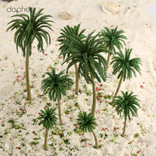 dophee 15pcs Model coconut Trees Multi Gauge Plastic Model Coconut Palm Trees Scale Scenery Green(China)