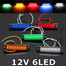 12V 6 LED Bus Truck Trailer Lorry Side Marker Indicator Light Side Lamp SMD Bulb 3825 Low Power Consumption Waterproof Six Color