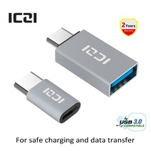 ICZI 2 PCS USB 3.1 Type C Male to Micro USB Female Adapter + USB 3.1 Type C Male to USB 3.0 Female OTG Adapter Converter