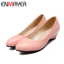 ENMAYER women pumps Round Toe Closed Toe Spike Heels Platform pumps Casual Plain Spring / Autumn 2016 new shoes pumps