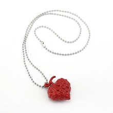 J Store One Piece Devil Fruit Necklace Ace Flame-Flame Fruit Anime Figure Metal heart choker necklace anime souvenir