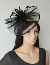 NEW 7 colours BLACK Big Crin Fascinator Sinamay Feather Fascinator for kentucky Derby Hat Wedding.