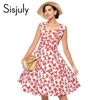 Sisjuly 1950 s vintage automne dress avec imprimé floral robes de soirée sans manches col v élégante robe de festa vintage dress