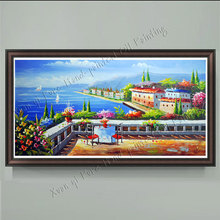 Handmade Wall Art Picture Home Decoration Artwork Landscape Oil Painting Sea Mediterranean Knife Painting On Canvas(No Frame)