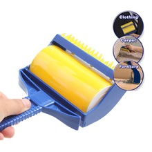 Rubber Sticky Picker Cleaner Reusable Catcher Roller Built-in Fingers Brush Clothing Carpet Furniture Dust Hair Cleaner Roller(China)