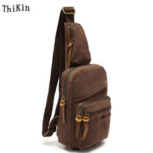 Augur Military Canvas Small Men Chest Bag Large Capacity Vintage Women Crossbody Bag Solid Color Ipad Messenger Sling Bag(China)