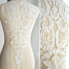 French Lace Fabric Ivory White Embroidered Applique High-end Wedding Dress Accessories Handmade DIYRS194(China)