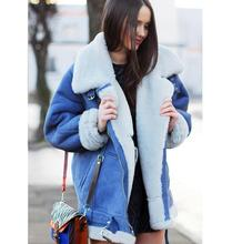 lager size women clothing Free shopping Slim short section of thick wool coat lamb suede motorcycle jacket / S-XL