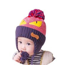 owl pattern baby hats for girls baby crochet bonnet enfant Hemp plus velvet ear bomber children #ML10 free shipping