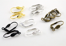 17*11mm 50pcs High Quality 5 Colors Plated Brass French Earring Hooks Wire Settings Base Settings Whole Sale