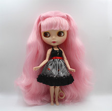 Blygirl Blyth doll Pink bangs can be closed eyes frosted face shell nude doll 30cm joint body DIY doll toy gift(China)