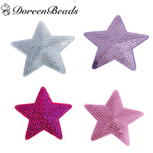 DoreenBeads 3 PCs Polyester Patches Appliques DIY Scrapbooking Craft Pentagram Star Purple Fuchsia Silver Pink Sequins 9cm x 9cm