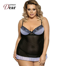 Buy Comeondear Woman Night Dress Sexy Lingerie Nightie Lace Dot Plus Size Nightwear Dress + G string Lingerie Sleepwear RJ7895