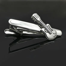 Silver Plated Electric Guitar Tie Pin Tie Clip Groomsman Wedding Gifts