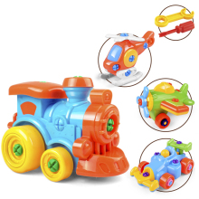 Early Learning Education DIY Screw Nut Group Installed Plastic 3d Puzzle Disassembly Train Car Kids Toys for Children Toys(China)