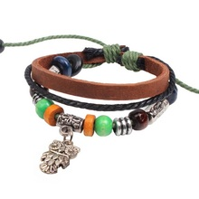 Hot Fashion Cool Owl Design Multi-Layer Leather Bracelet Women Men Jewelry, Green Beads Christian Bracelets Mens Pulseras Hombre