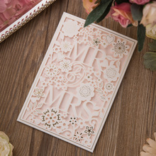 25pcs/lot Romantic White MR And MRS Sweet Wedding Inviting Card Hollow Rose Enganement Party Favor Decoration Wish Greeting Card