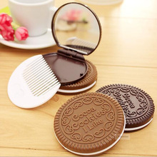 1pc Chocolate Mirror with Comb Cute Cookie Shaped Design Makeup portable folding mini miroir espelho gift