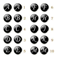 1 Pair Business White on Black Letters Men Suits Shirt Cuff Links Silver Plated Glass Cabochon Wedding Cuff Accessories(China)