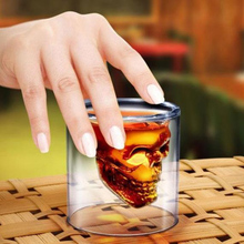 Shot Glass Skull Head Cup Party Glass Cup Drinking Crystal Ware Cup Beer Wine Drinking Family Bar Clear Transparent KC1273(China)
