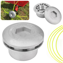 Silver Alloy Line Trimmer Head with 4 Nylon Line Brush Cutter For Brushcutter Garden Tools Lawn Mower Tool Parts Mayitr