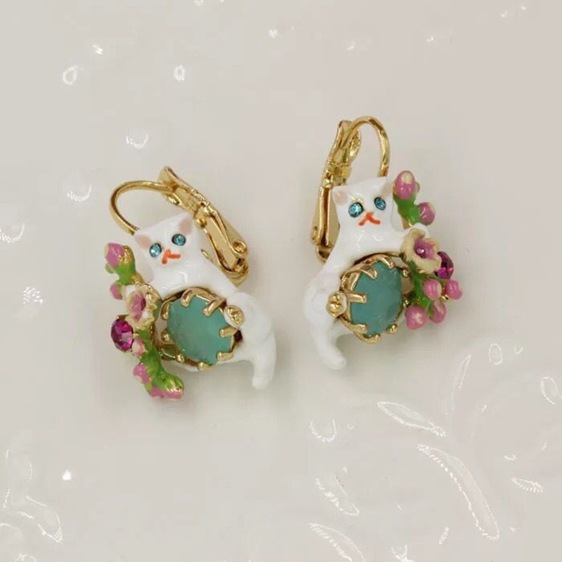 2018 Amybaby Handmade Luxury Womens Enamel Glaze Green Stone Flower Cute Cat Hook Drop Earring Jewelry For Party