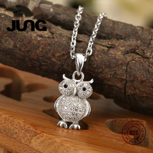 Fashion AAA Zircon Owl 925 Sterling Silver Beautiful OL Delicate Cute Pendant Necklace Women Collier Choker Collar Jewelry(China)