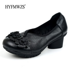 HYFMWZS Big Size 35-42 Genuine Leather Shoes Woman Full Grain Leather Ballet Shoes Fashion Designers Non-slip Slip-on Shoes(China)