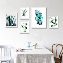 Nordic Minimalist Art Canvas Prints Posters green plant Leaf Cactus on canvas Wall For Living Room Home Decor no frame DP0284