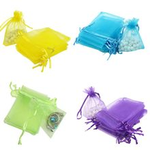 Hot selling 100pcs/lot 9x7 Cm Organza Drawstring Bag Colorful Organza Bag For Gift Packaging For Party And Wedding Gifts Bag(China)