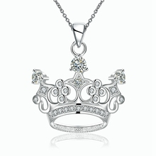 Fashion new style 925 sterling silver jewelry classic crown pendant ladies personality necklace party queen(China)