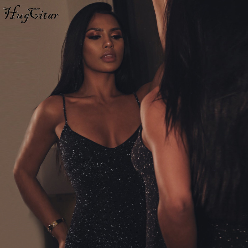 Hugcitar spaghetti straps slash neck backless sexy long dress 18 women high waist bodycon elegant fashion party dresses 8