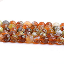 "Fctory Price 16"" Natural Stone Faceted Orange Red Fire Agat Round Loose Beads 6 8 10 12MM Pick Size For Jewelry Making diy(China)"