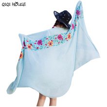 Cotton Shawl Embroidered Floral Solid Retro Scarf Ladies Ethnic Style Scarf Beach Head Sarong Autumn Warm Poncho De Inverno#B905