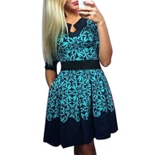 New 2017 Summer Fashion Green Floral Half Sleeve Slim Dresses Vogue Sweet Elegant Fit Casual Sexy A-Line Mini Dress S-5XL Size