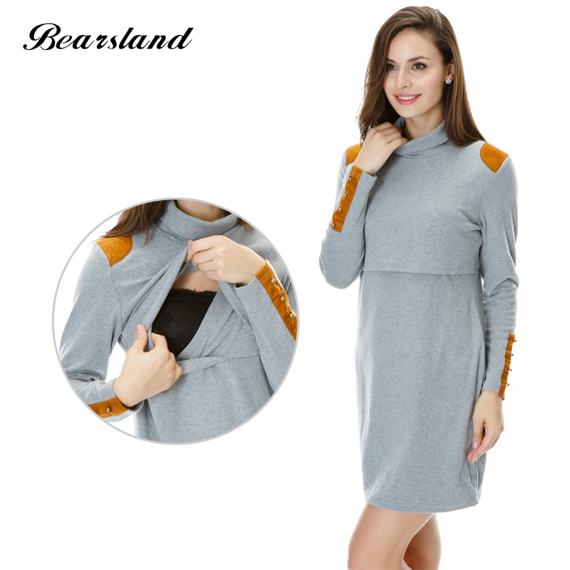 Maternity Clothes Nursing tops Turtleneck Thermal Winter and Autumn Slim fit Breastfeeding dress for pregnant Women Hot Wholesal<br>