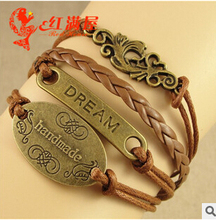 Handmade Bracelet Bangle Dream+leaf Fashion Antique Charms bracelet Pulseras 2015 New(China)