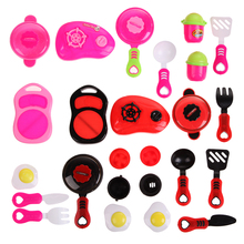 One Set Kitchen Cooking Toy Children DIY Beauty Plastic Kitchen Toy Role Play Toy Set Kids Educational Toys Red Pink