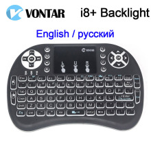 VONTAR i8+ English Russian backlight  Mini Wireless Keyboard 2.4GHz Air Mouse touchpad for android TV Box Laptop PC
